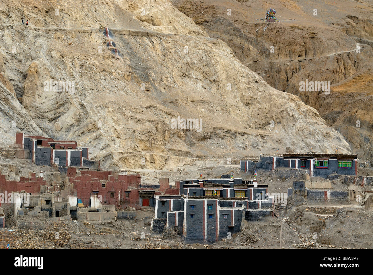 Monastery city Sakya with monastery and residential buildings in traditional architecture and Sakya colors, Tibet, - Stock Image