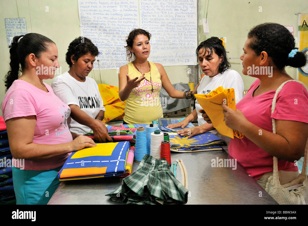Seamstresses organised in a Cooperative association in La Dorada, Colombia, South America - Stock Image