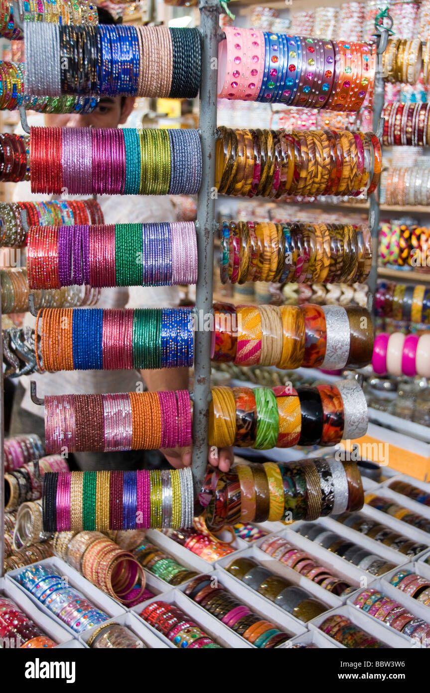Colourful bangles for sale - Stock Image