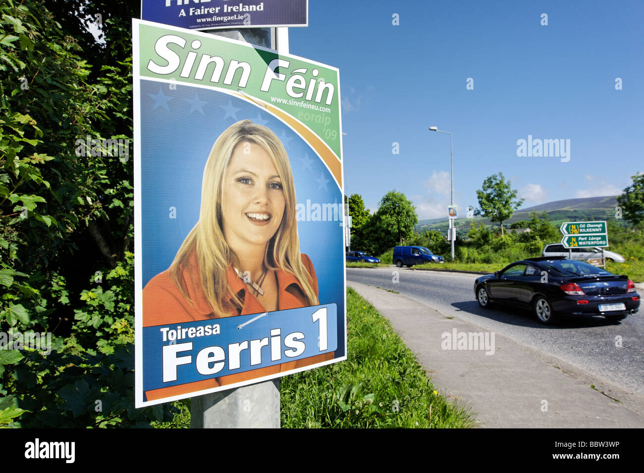 Sinn Fein local election political party poster by the roadside in County Tipperary Republic of Ireland 2009 - Stock Image
