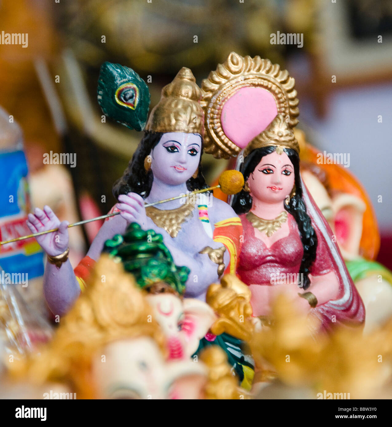 Hindu god idols, handicraft sale in India - Stock Image