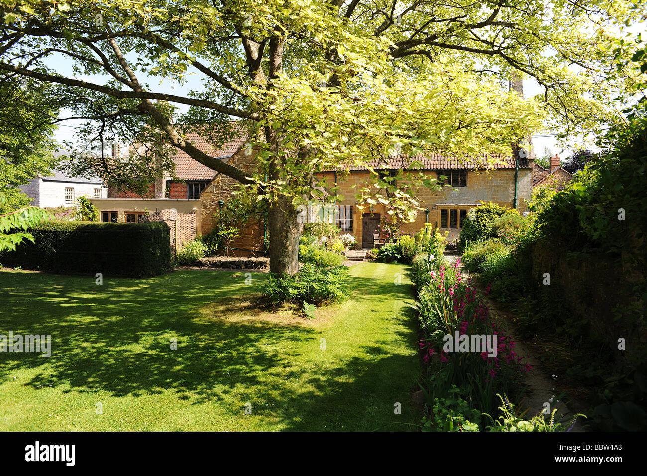 English cottage at East Lambrook Manor Gardens, South Petherton, Somerset - Stock Image