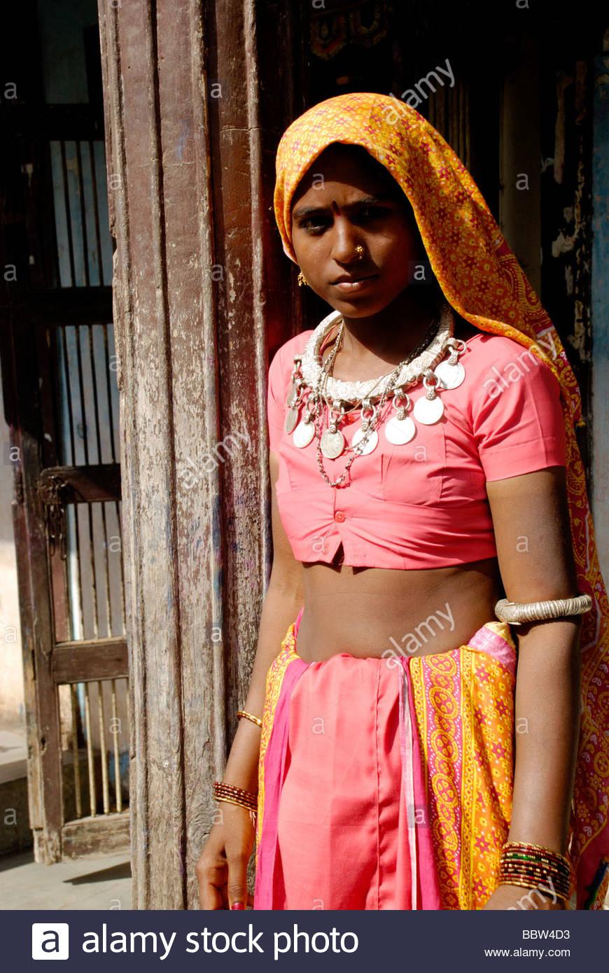People Of Rural Area In Gujarat India Stock Image