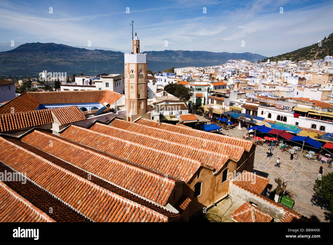 View over Grand Mosque, Chefchaouen, Morocco, North Africa - Stock Image