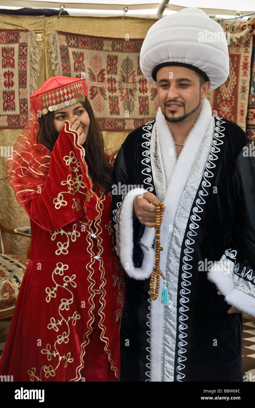 Young Turkish Couple Posing In Old Style Ottoman Turkish Outfit For