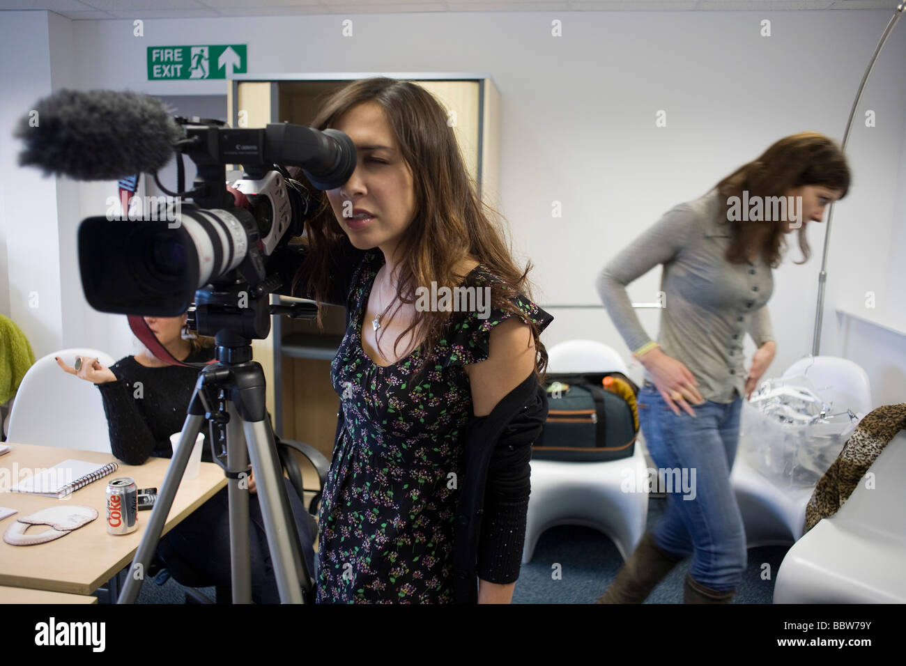 Personality Myleene Klass during promo filming before launch of her own Baby K collection at Mothercare s UK HQ - Stock Image