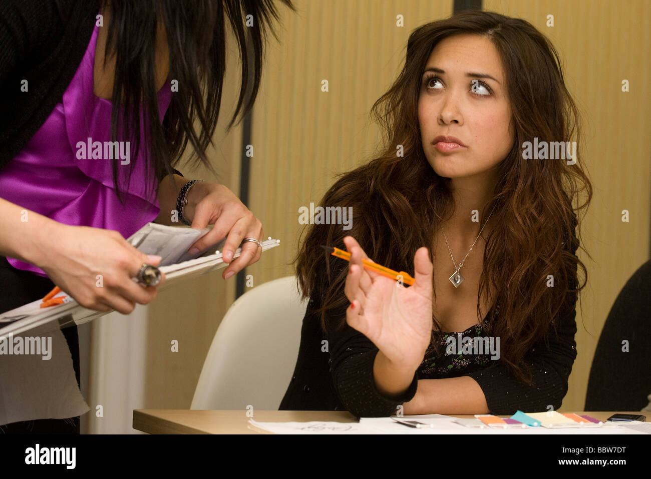 """Personality Myleene Klass meets with Mothercare staff before launch of  """"Baby K"""" collection at company HQ - Stock Image"""