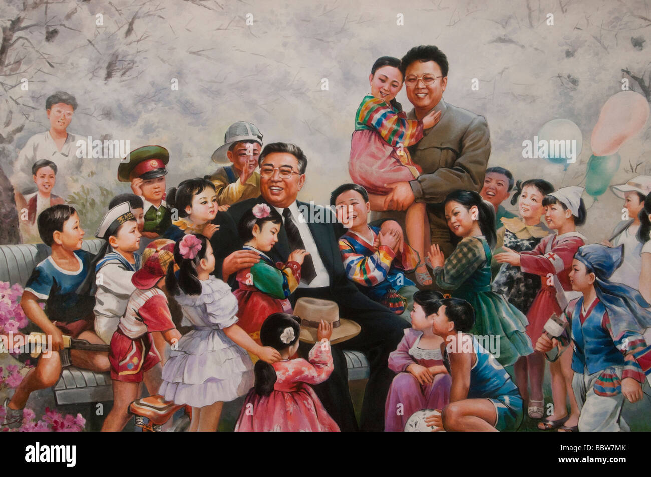 Kim Il Sung and Kim Song Il as fathers of the nation on a painting at the Nampo Baby Home - Stock Image