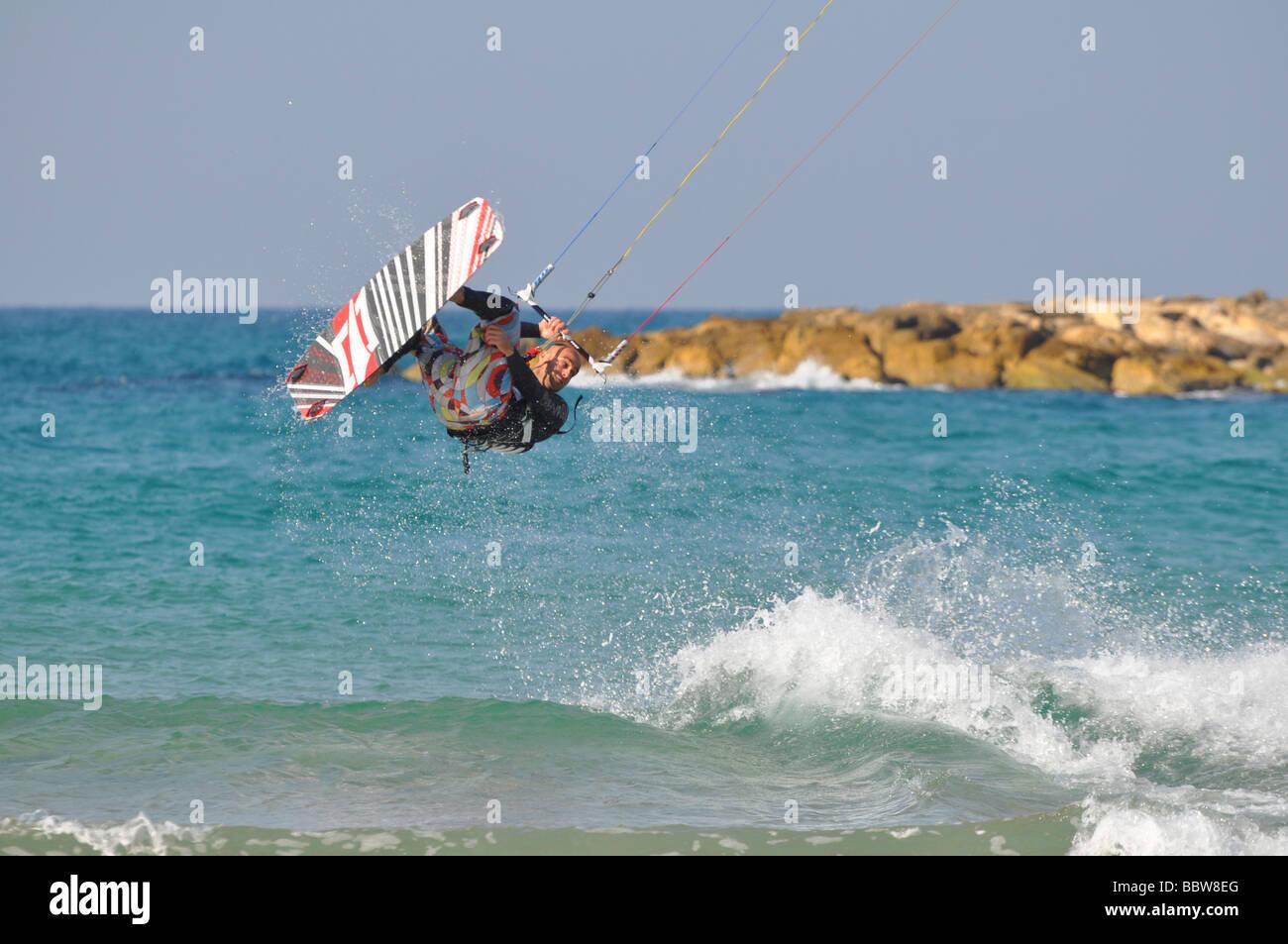 Israel Tel Aviv Kite surfing in the Mediterranean sea - Stock Image