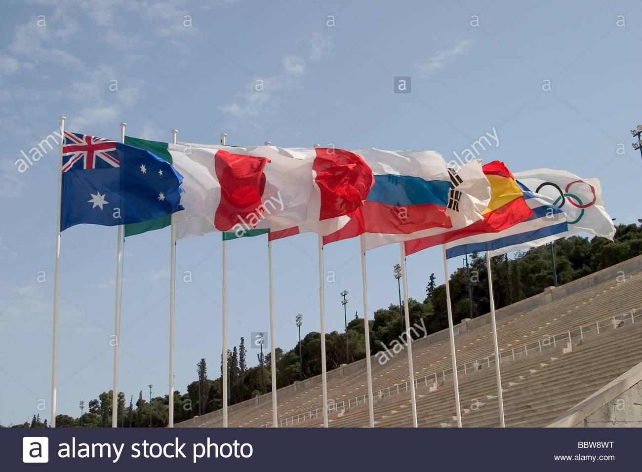 europe, greece, athens, stadium, olimpic flags - Stock Image