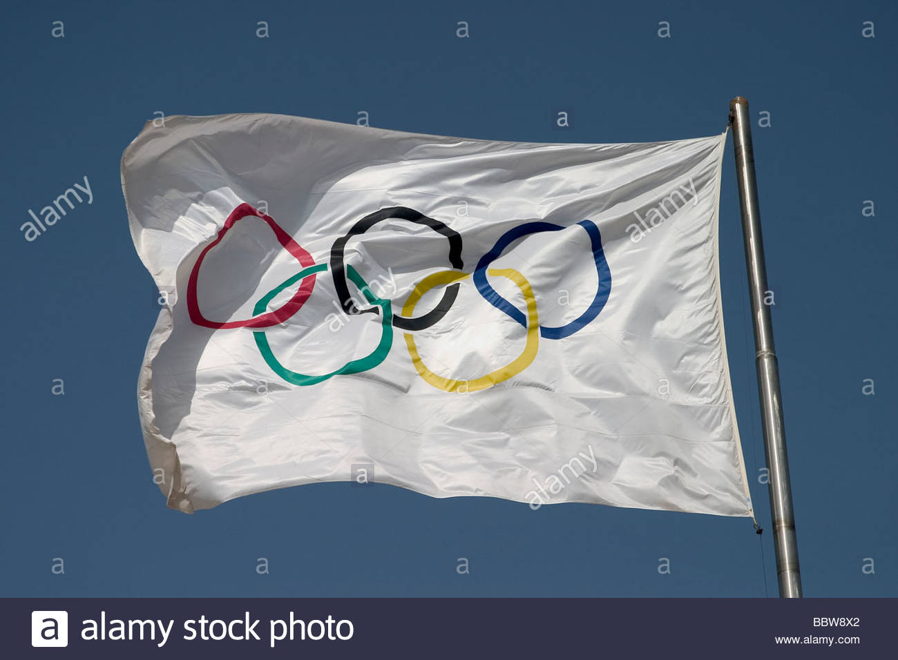 europe, greece, athens, stadium, olimpic flag - Stock Image