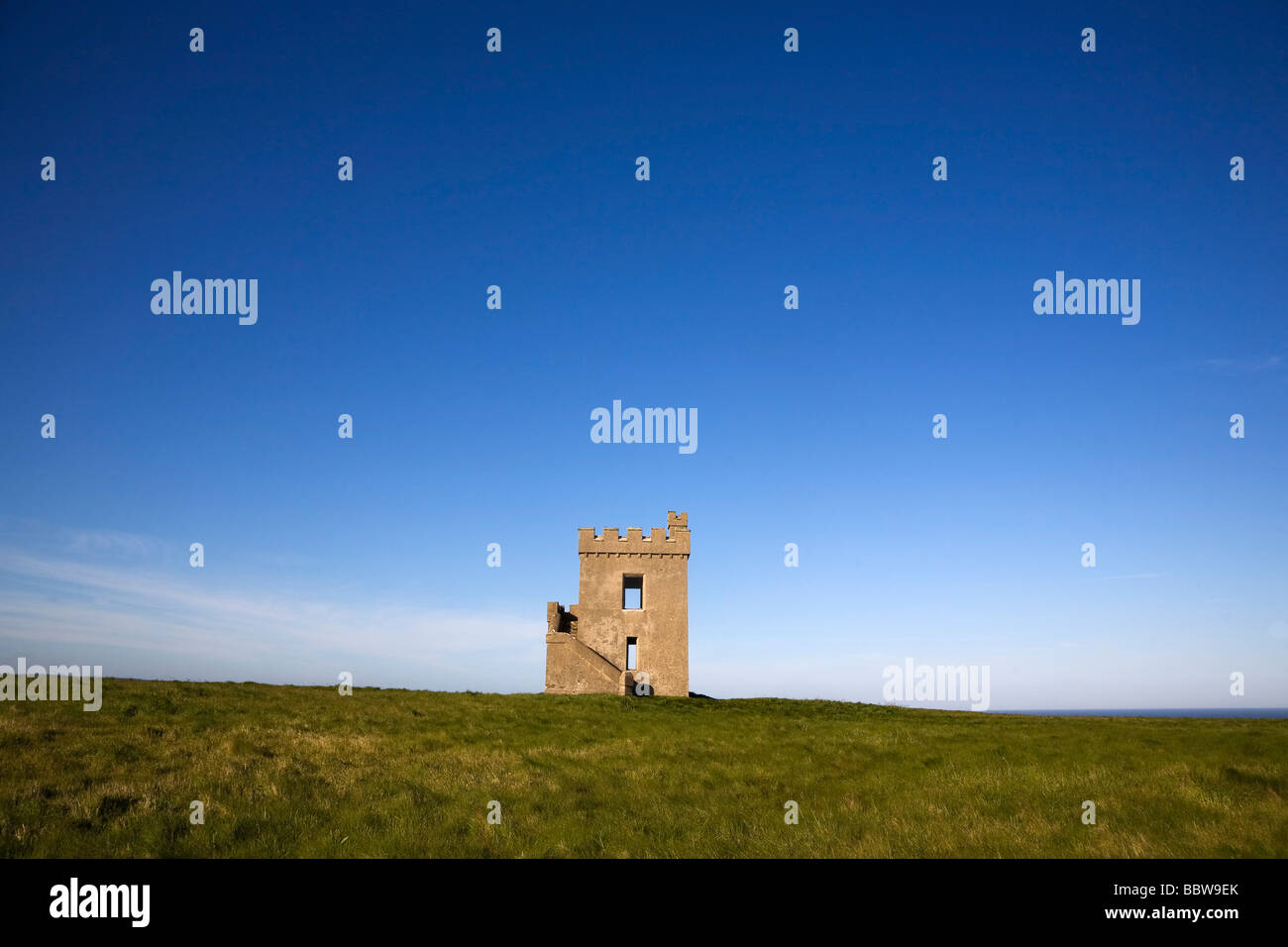 Ardmore Castle Watch Tower and Signal Station, Built 1867, Ardmore, Co Waterford Ireland - Stock Image