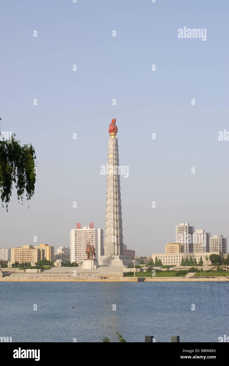 tower of Juche Idea in Pyongyang North Korea - Stock Image