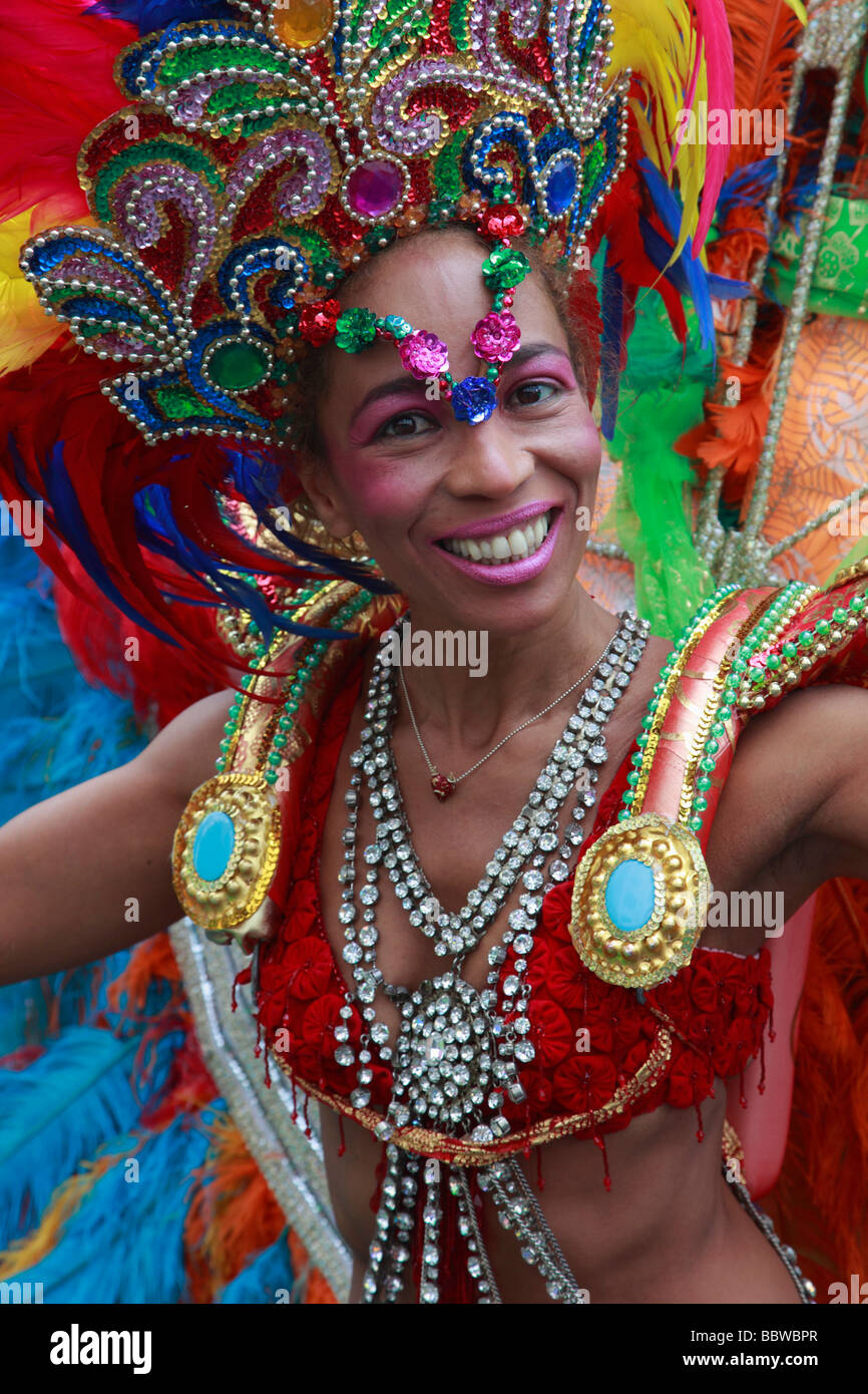 Germany Berlin Carnival of Cultures brazilian woman in costume - Stock Image