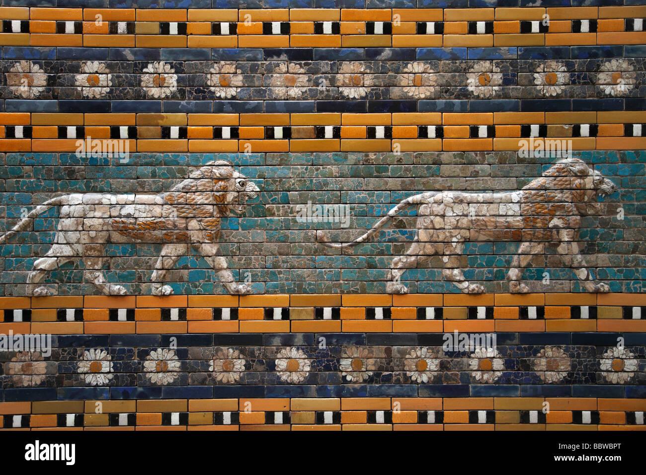 Germany Berlin Pergamon Museum detail of Ishtar Gate Babylon Stock Photo
