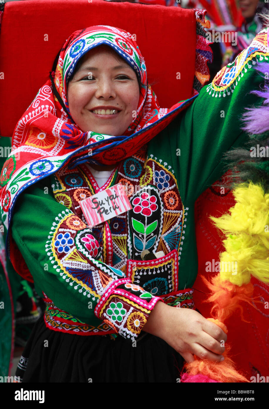 Germany Berlin Carnival of Cultures Peruvian woman in traditional dress - Stock Image