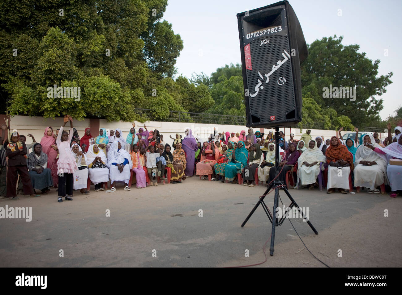 Political ladies attend womens peace rally outside a compound tent belonging to the Governor of North Darfur - Stock Image