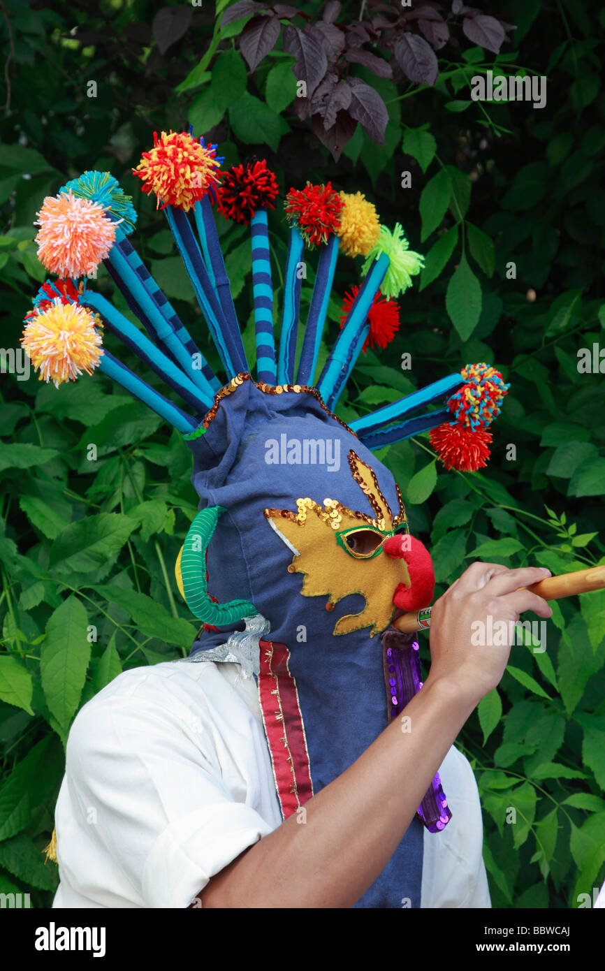 Germany Berlin Carnival of Cultures masked man - Stock Image