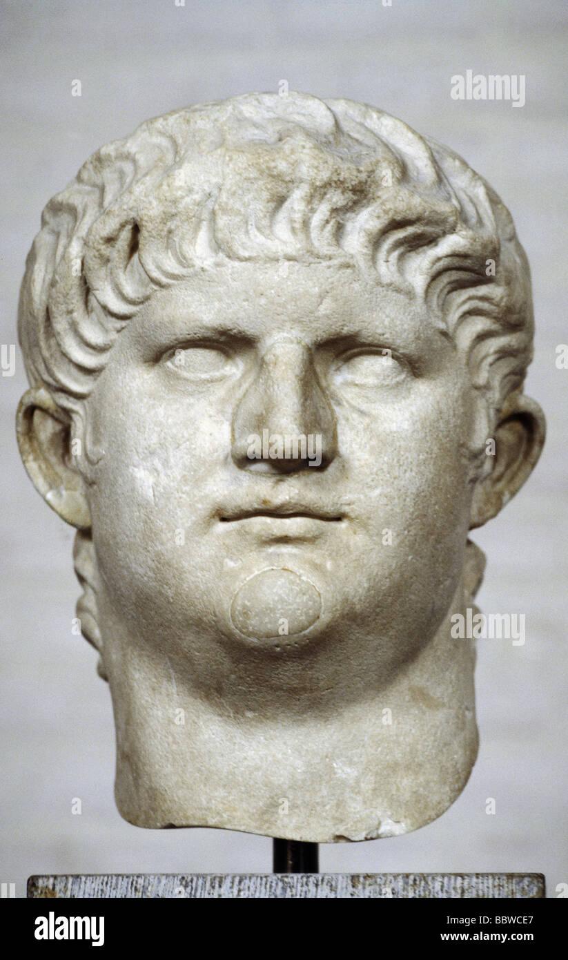 Nero Claudius Caesar, 15.12.37 - 9.6.68, Roman Emperor 13.10.54 - 9.6.68, portrait, bust, head of a statue, 65  - Stock Image