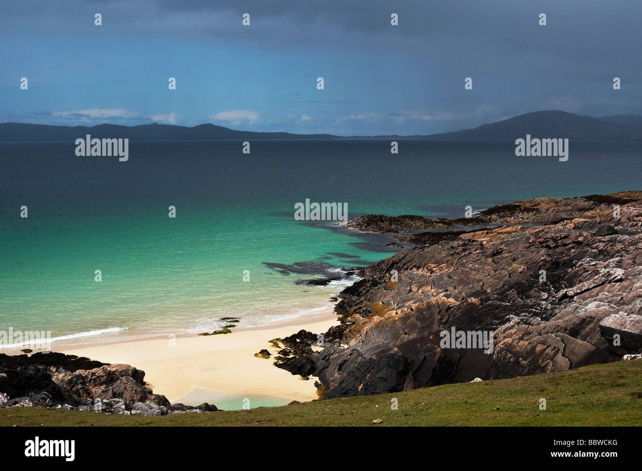 Rain and Storm clouds over Traigh Lar beach, South Harris, Outer Hebrides, Scotland - Stock Image