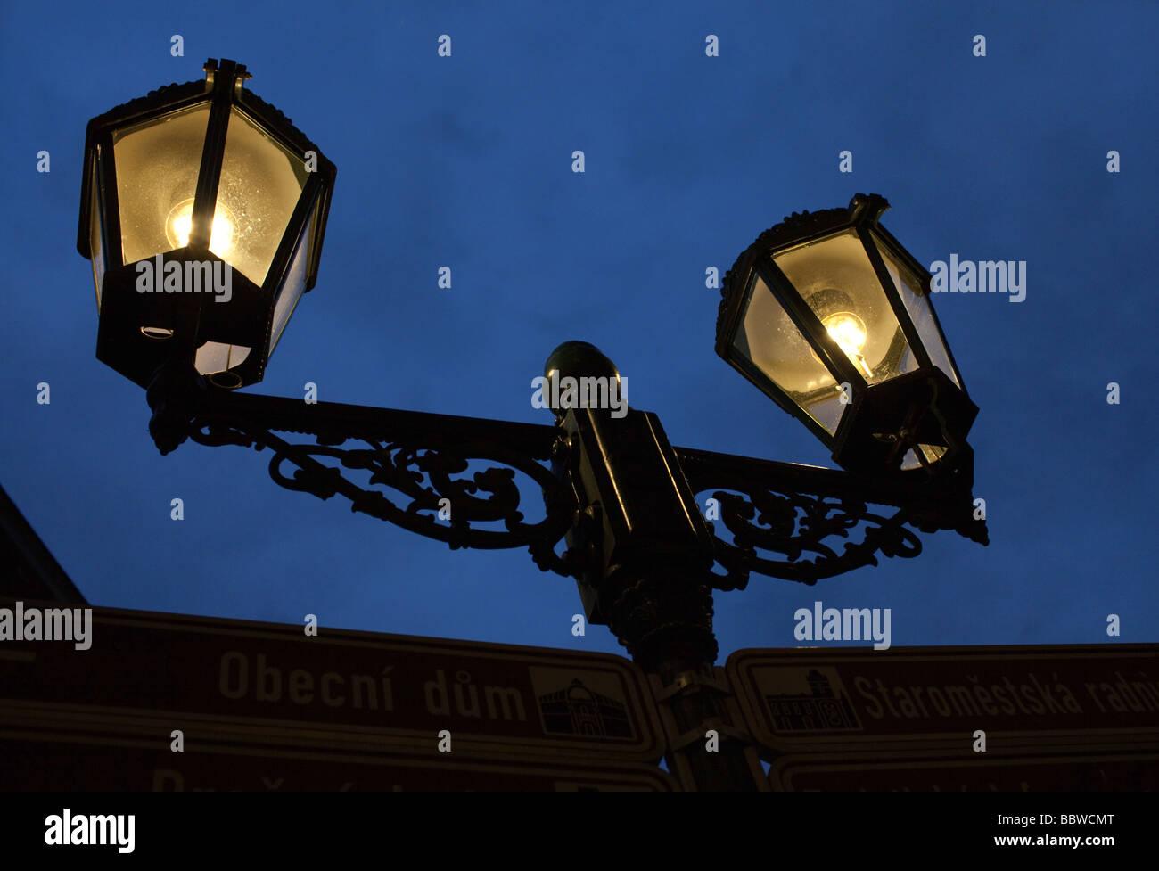 Street light in Prague - Stock Image