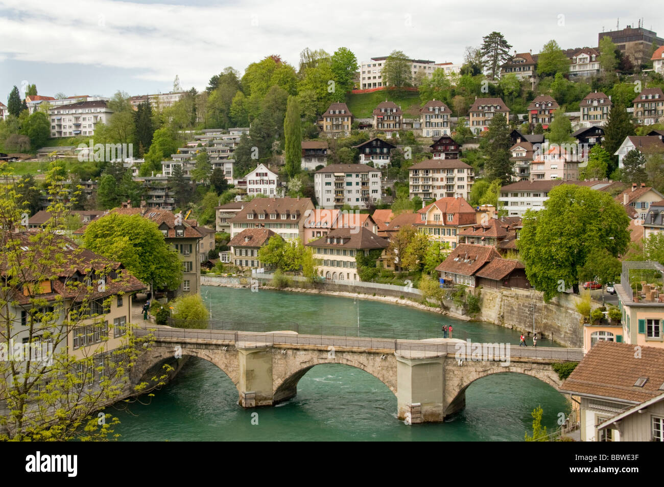 Old Bern and Aare River, Switzerland - Stock Image