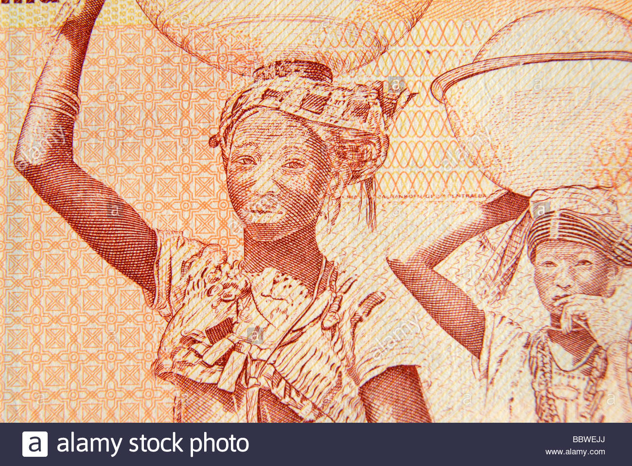 Fulani milk maids depicted on a Nigerian ten Naira note dating from 2007. - Stock Image