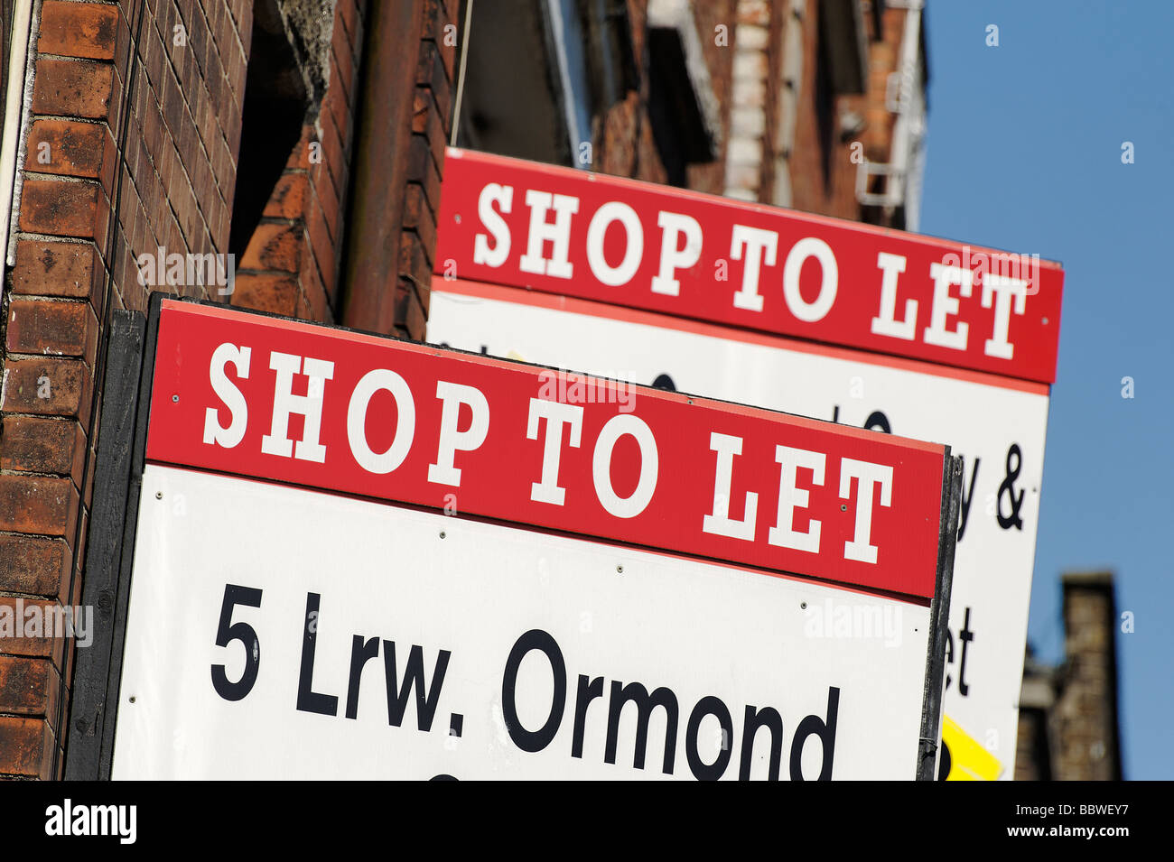 Estate agents To Let signs in central Dublin Republic of Ireland - Stock Image