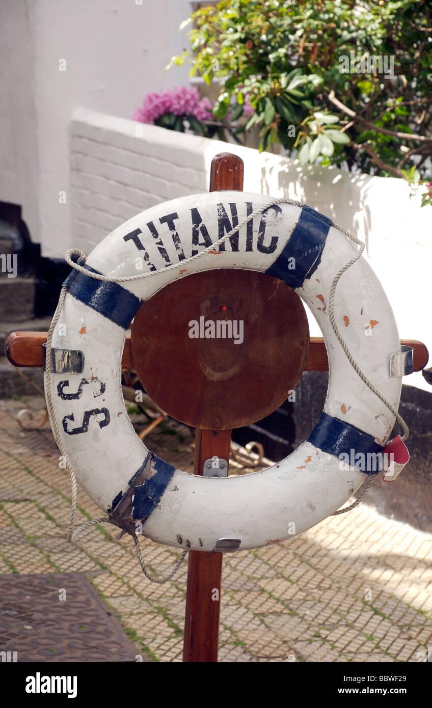 SS Titanic name replica lifebuoy, Dartmouth, Devon, UK - Stock Image