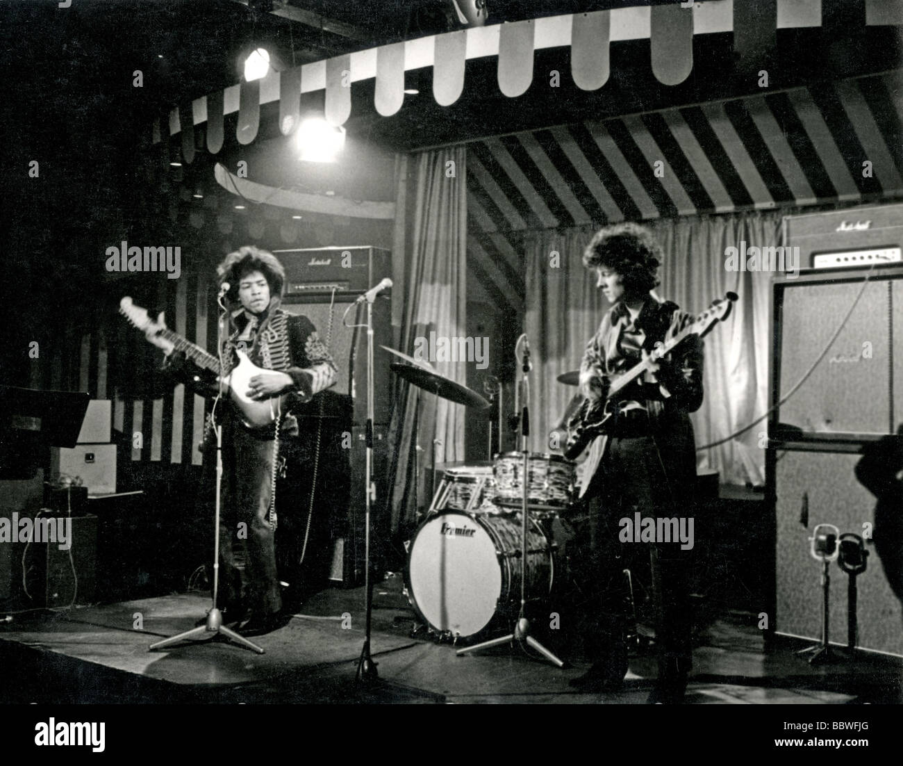 JIMI HENDRIX EXPERIENCE  at the London Marquee Club in Wardour Street on 2 March 1967 while making a programme for - Stock Image