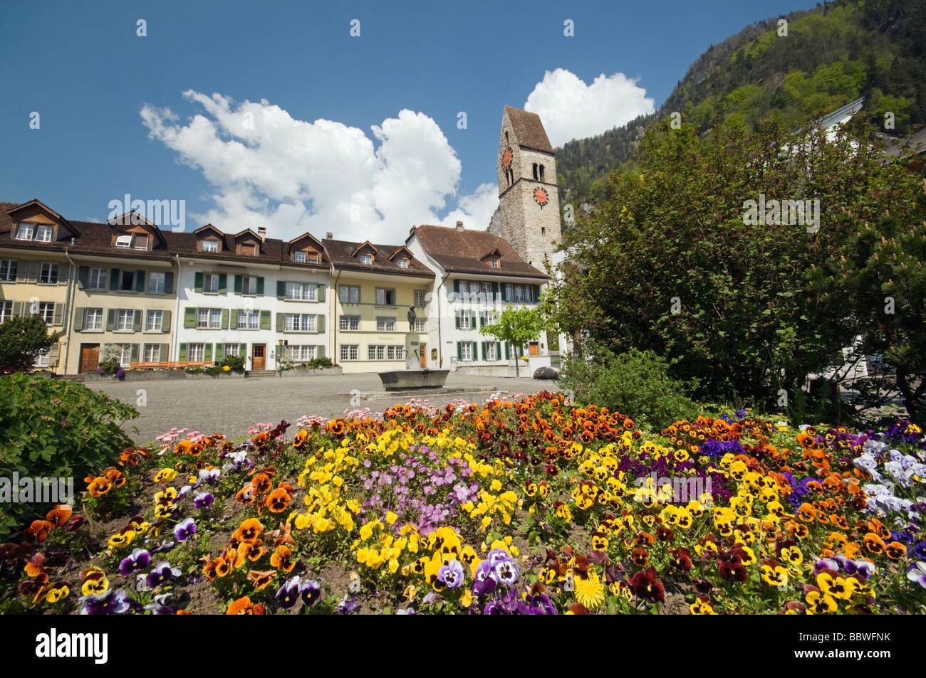 Interlaken Clock Tower and Square, Switzerland - Stock Image
