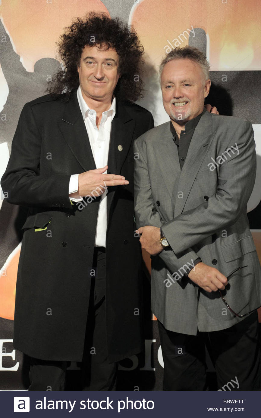 brian may, roger taylor, milano 2009, we will rock you musical presentation Stock Photo