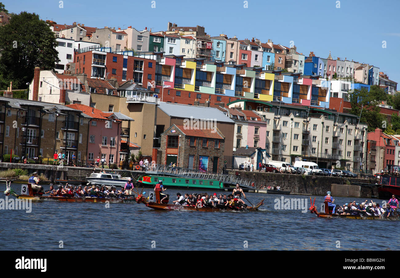 The Dragon Boat Race on the River Avon below Clifton, Bristol. - Stock Image