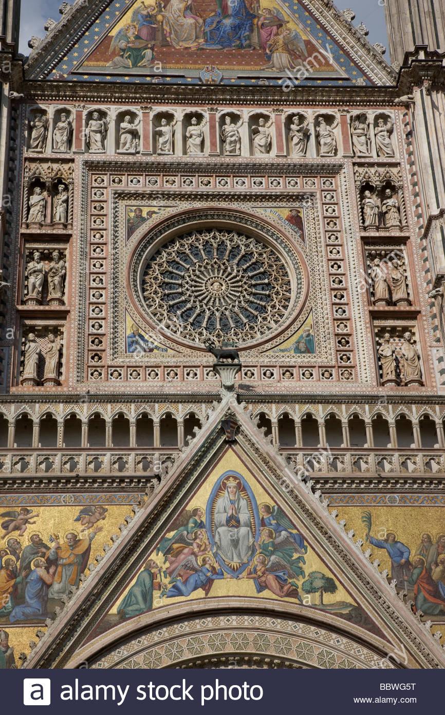 Italy. Umbria. Orvieto. The Cathedral (Il Duomo). Stock Photo