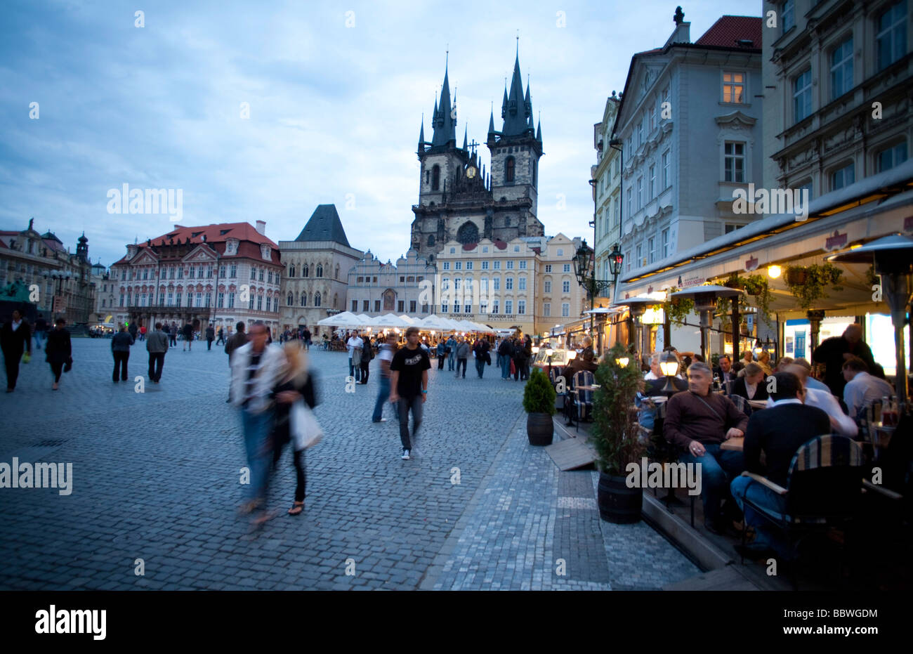 Old Town Square and Tyn Cathedrale of Prague - Stock Image