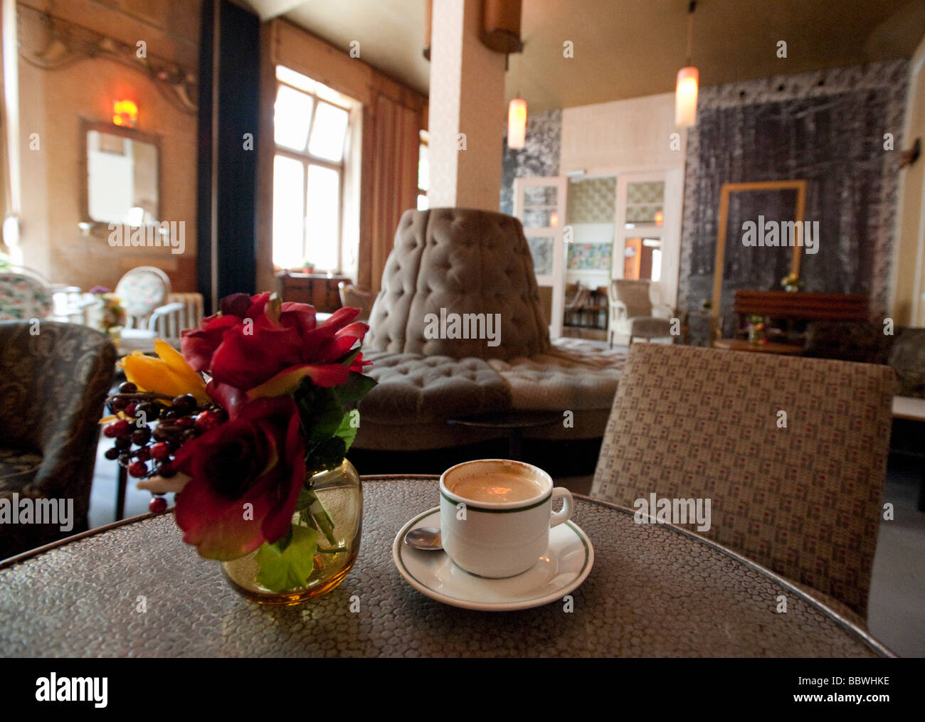 detail of interior decor and furnishings of trendy bohemian cafe called wohnzimmer in prenzlauer berg berlin germany