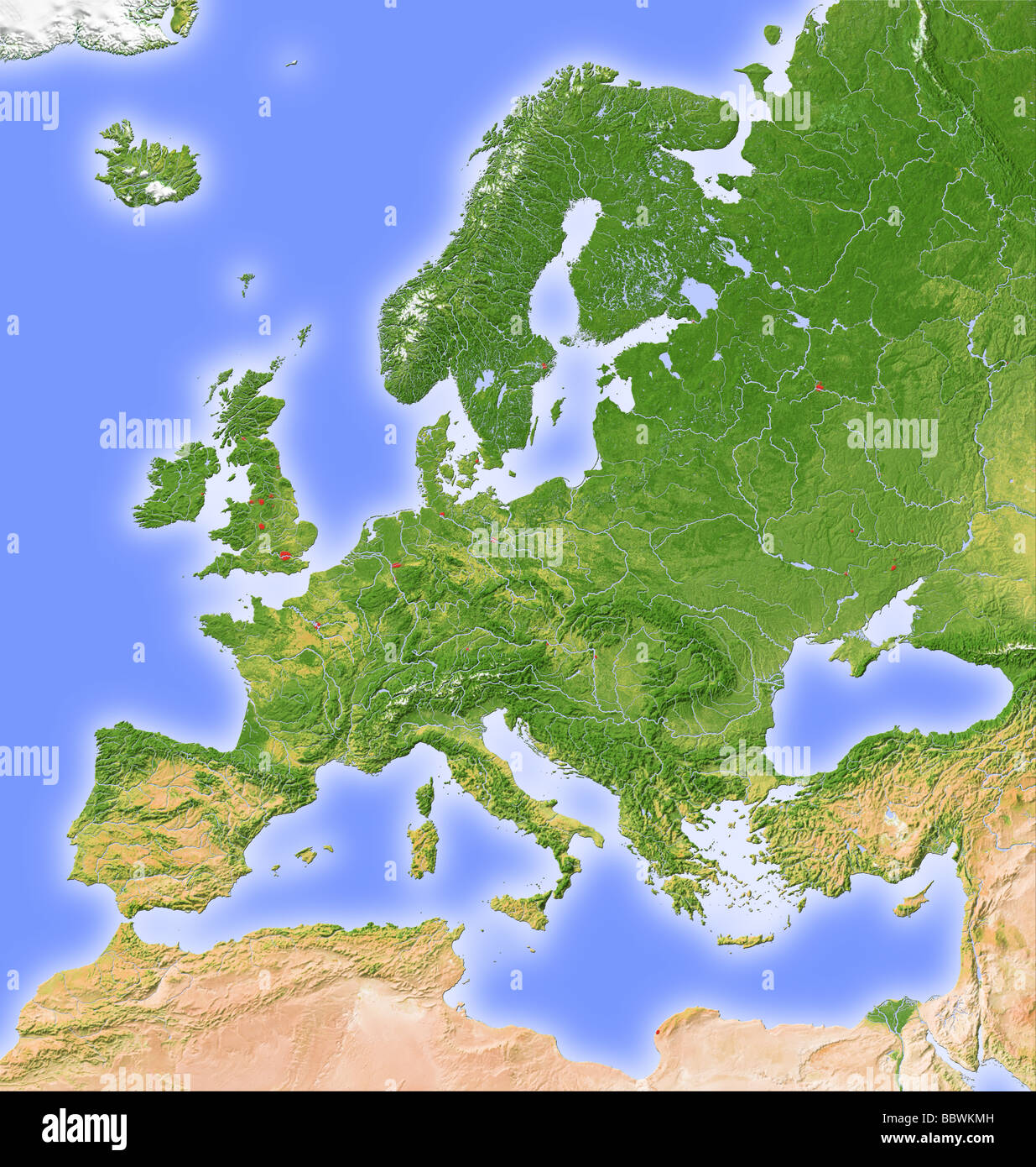 europe shaded relief map stock image