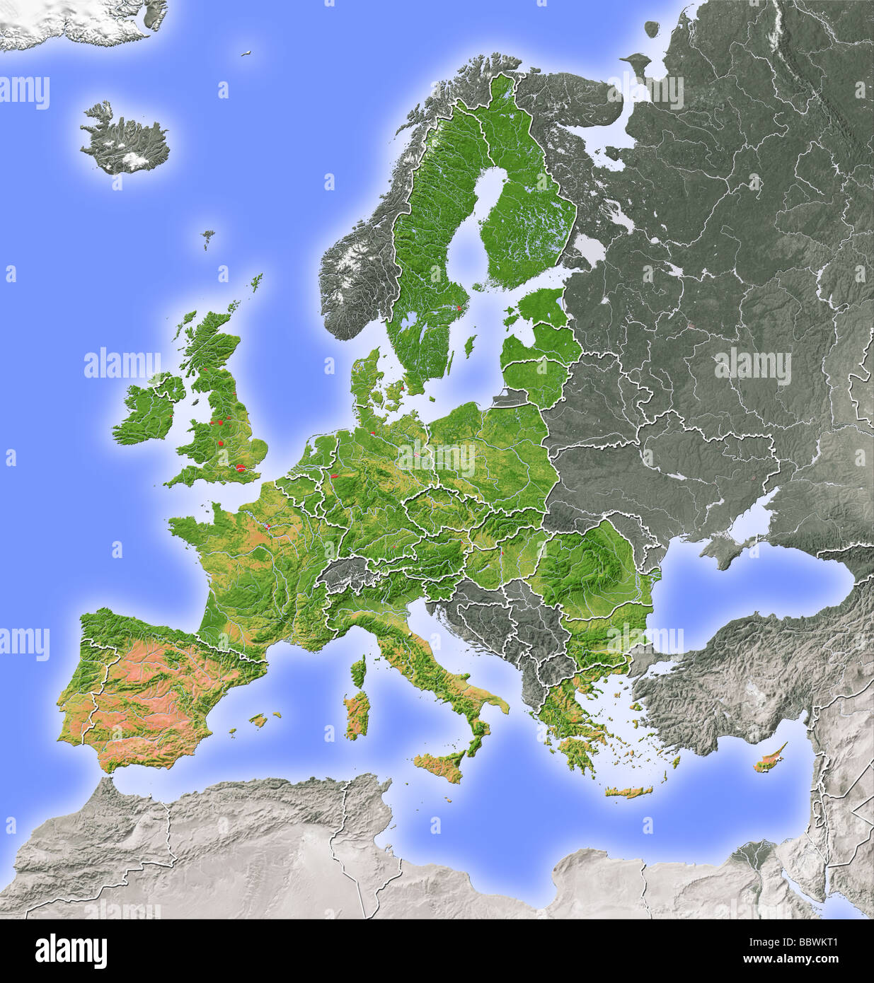 European Union, relief map - Stock Image