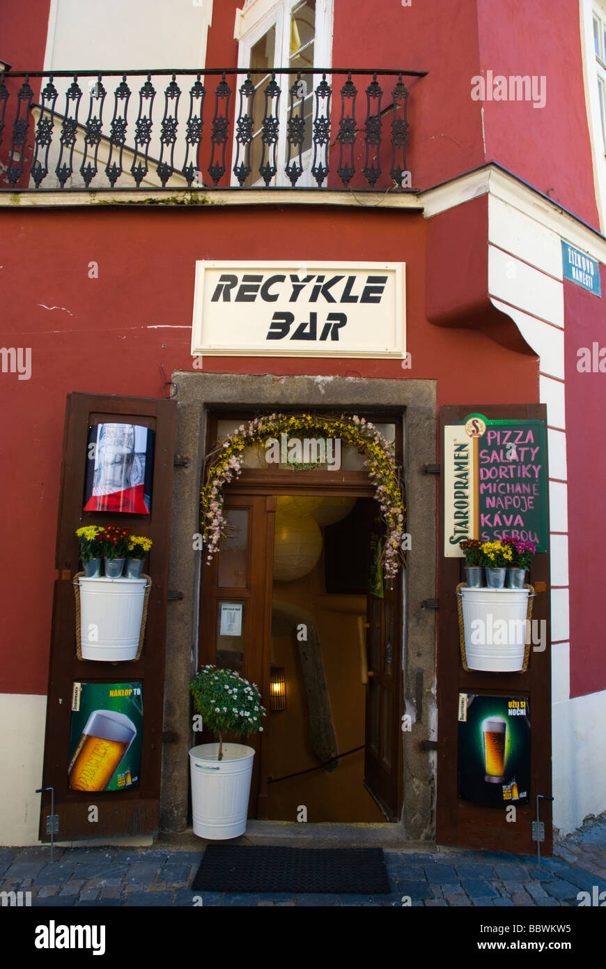 Recycle Bar in old town of Tabor Czech Republic Europe - Stock Image