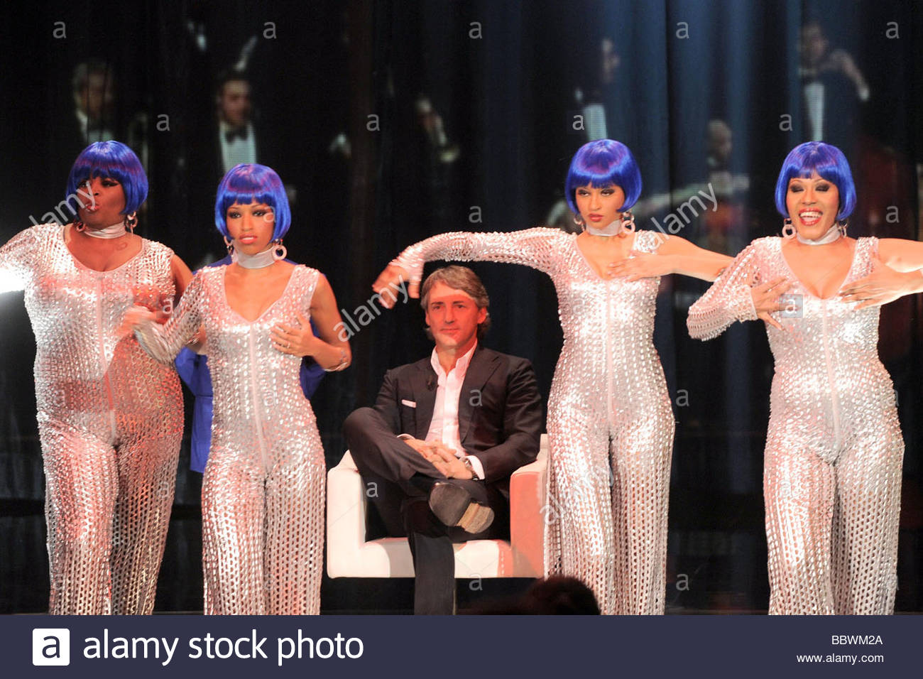 roberto mancini, milano 2009, chiambretti night tv show - Stock Image