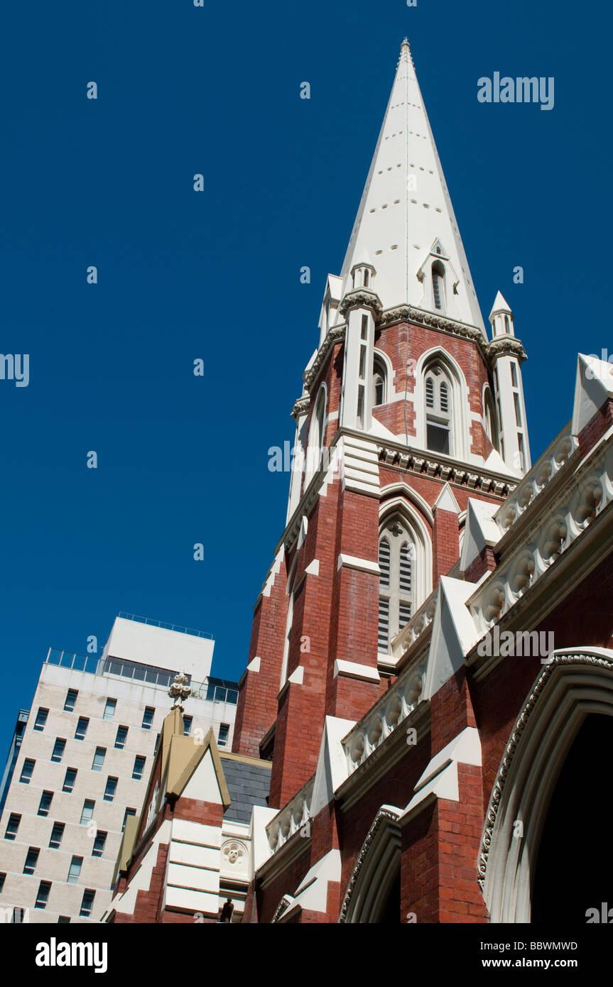 The spire of the neo-Gothic Albert Street Uniting Church, Brisbane, Australia - Stock Image