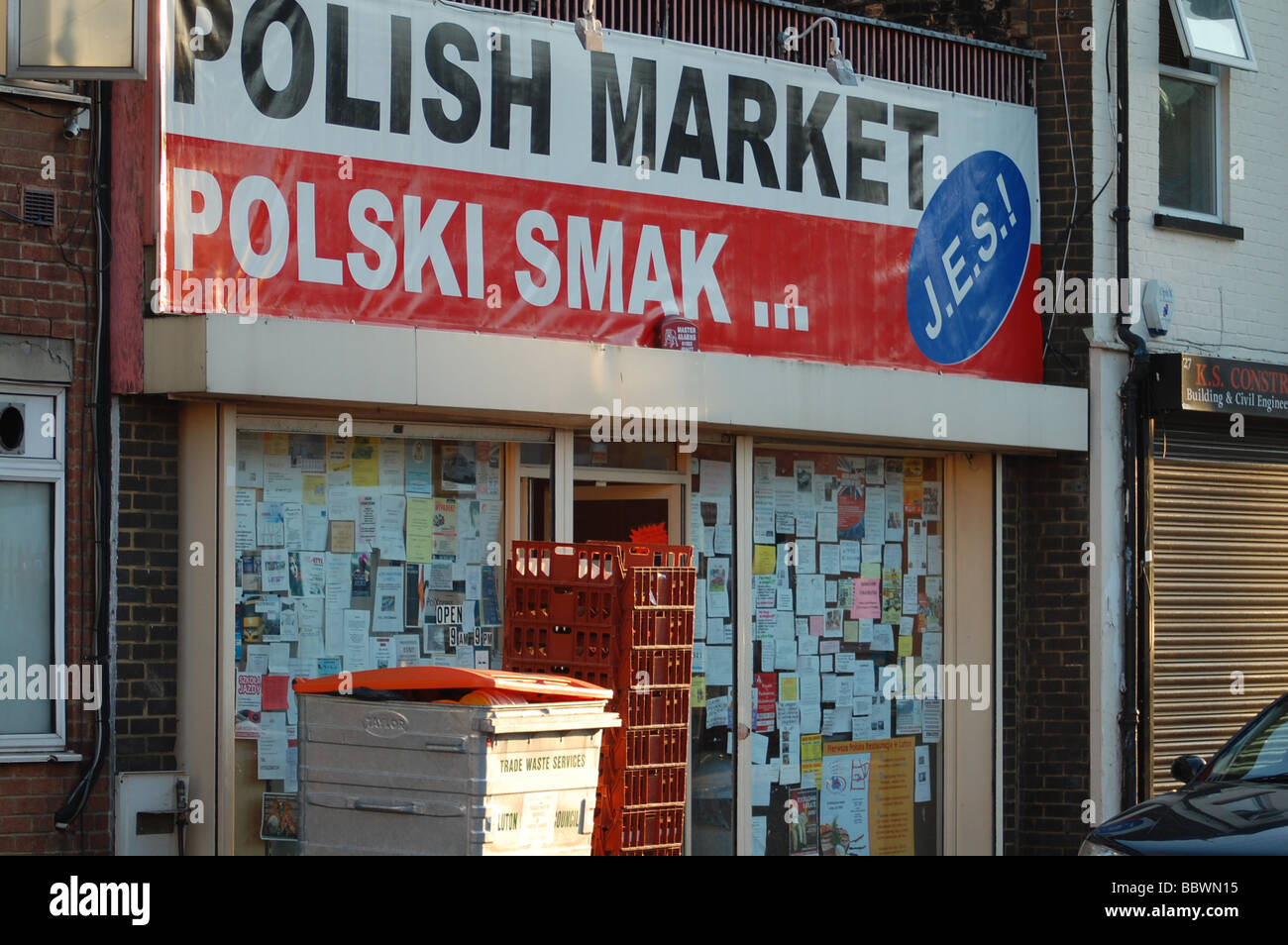 Polish shop in Luton, England. - Stock Image
