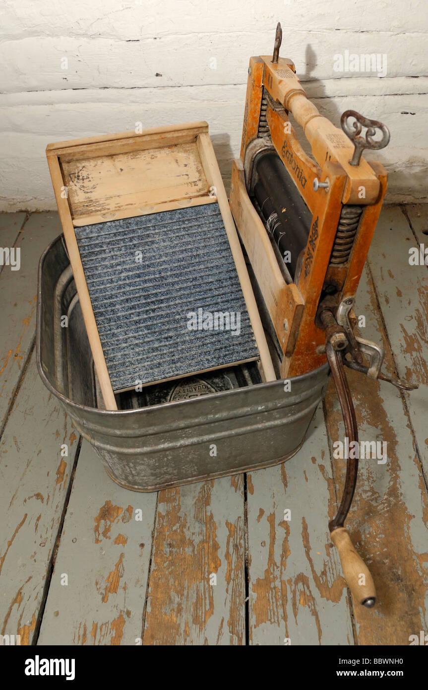 Antique wringer washer and scrub board John Walter Museum Edmonton Alberta  Canada - Stock Image