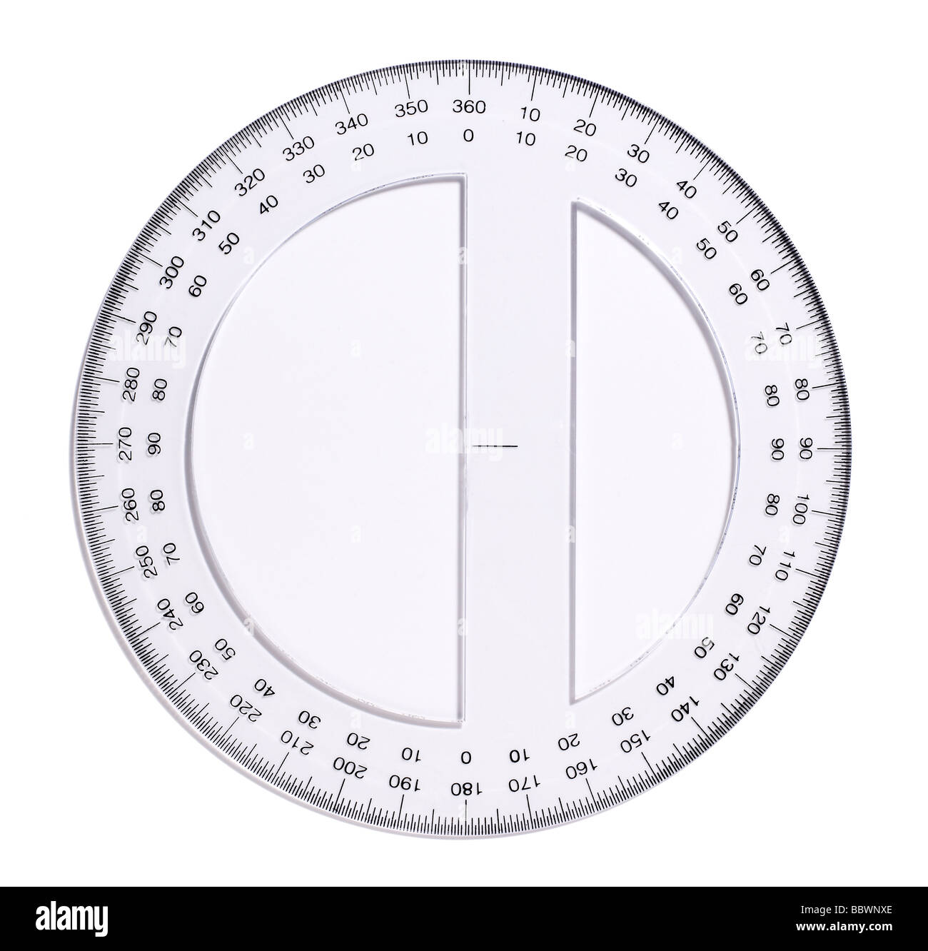 clear Plastic Measuring devices protractor protractors - Stock Image