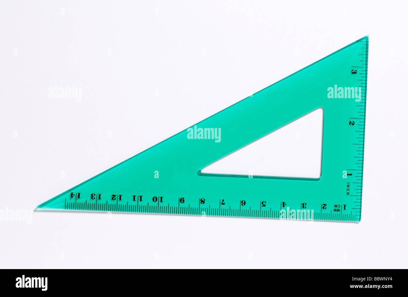 Clear plastic Measuring devices protractor protractors square triangle - Stock Image