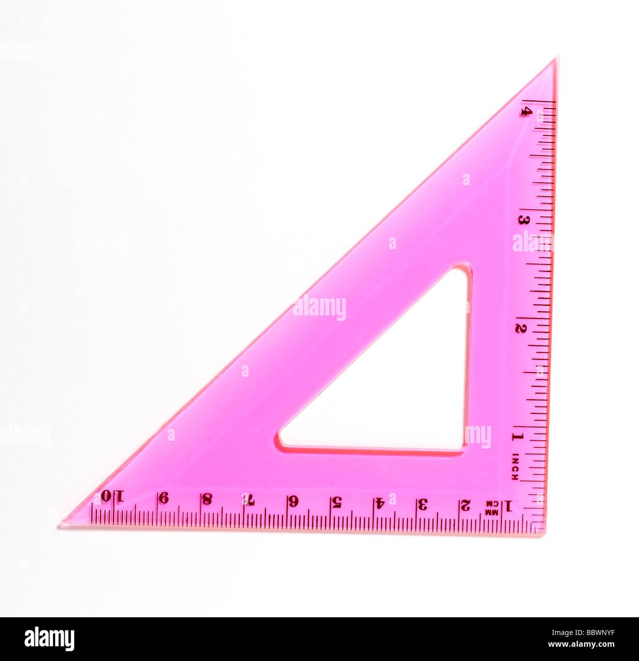 Plastic Measuring devices protractor protractors triangle square - Stock Image