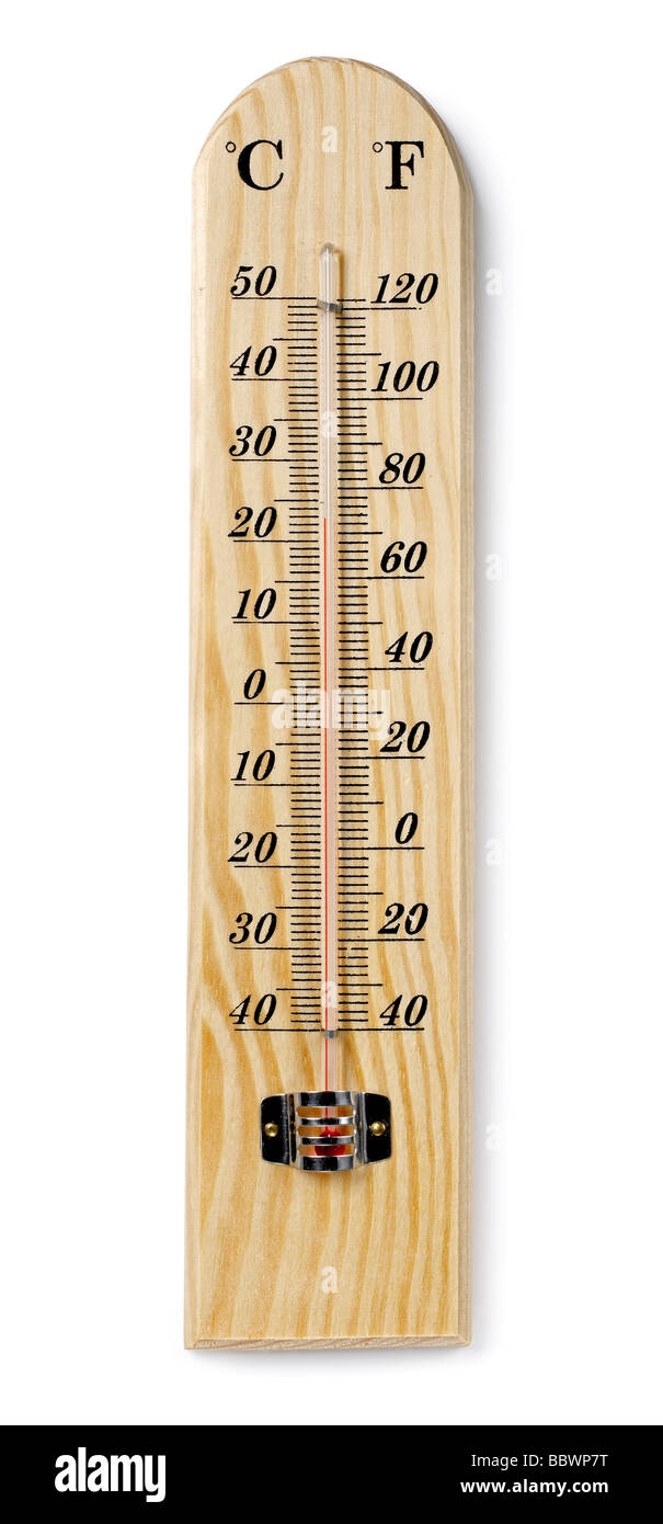 Wooden thermometer - Stock Image