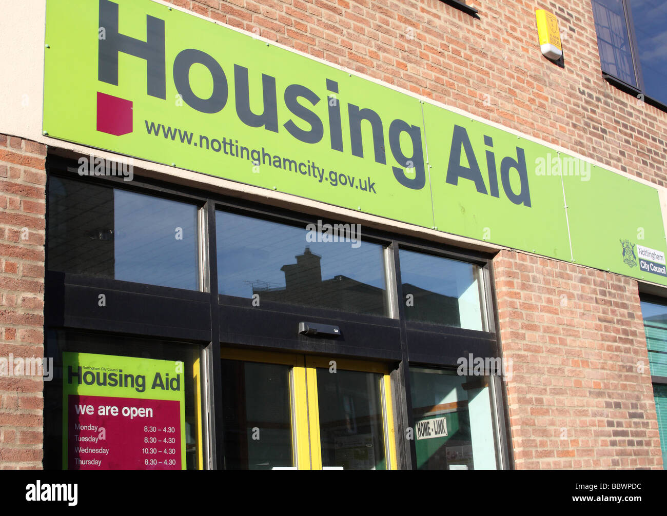 Nottingham City Council social housing office. - Stock Image