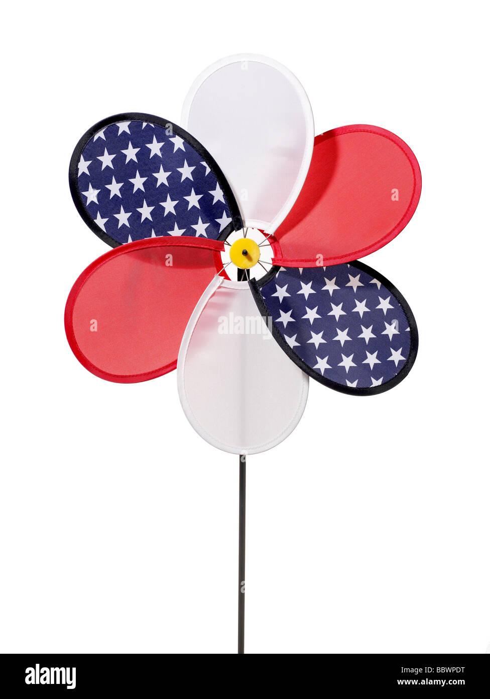 Red white blue Pin wheel patriot patriotic flag - Stock Image