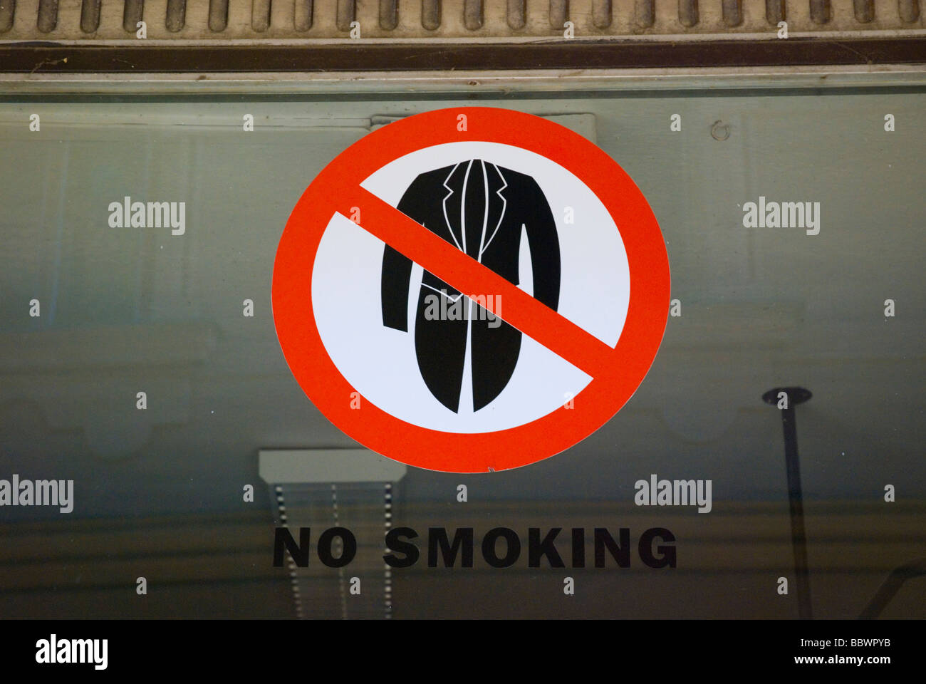 No smoking jackets sign in Tabor Czech Republic Europe Stock Photo